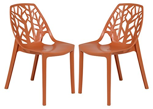 LeisureMod Cornelia Cut-Out Tree Design Modern Dining Chairs, set of 2… (Solid Orange)
