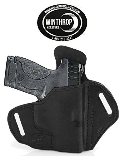 Winthrop Holsters OWB Pancake Black Leather Holster (M&P Shield 9/40 No Laser #0322)