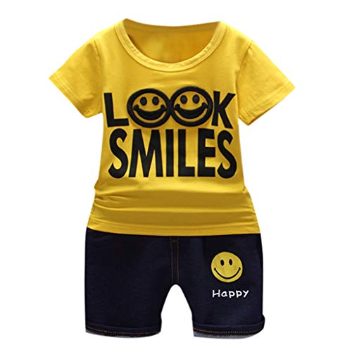 Kids Baby Girl Solid Look Smiles Letter Cartoon T Shirt Print Denim Shorts 2PC Sets Outfits -