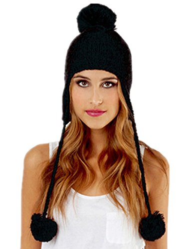 Womens Tassel Ear Flaps Pom Cable Knitted Warm Woolen Snow Beanie Hats