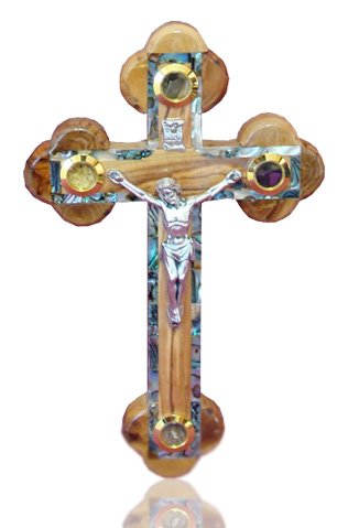 18cm Orthodox Wall Olive Wood Cross Mother Of Pearl Inlaid Bethlehem (MOP-CRS-017) Zuluf ZULUF-MOP-CRS-017