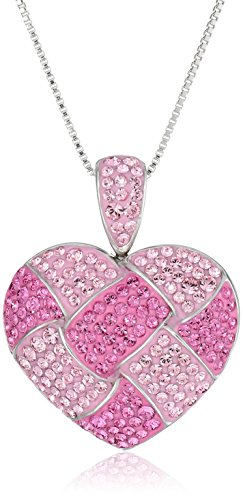Sterling Silver and Pink Quilted Heart Pendant Necklace with Swarovski Elements, 18""
