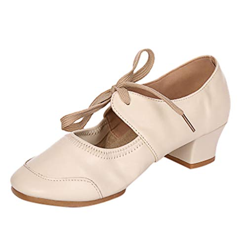 TnaIolral Ladies Sandals Dancing Rumba Waltz Prom Ballroom Latin Ballet Dance Singles Shoes Beige]()