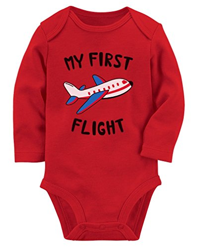 (My First Flight Funny Vacation Holiday Baby Boy/Girl Baby Long Sleeve Bodysuit NB (0-3M) Red)