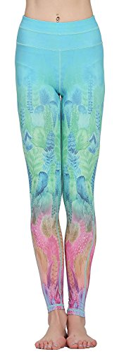 Jescakoo Ladies Green Blue Pink Feather Printed Ankle Pants Yoga Leggings High Waist S
