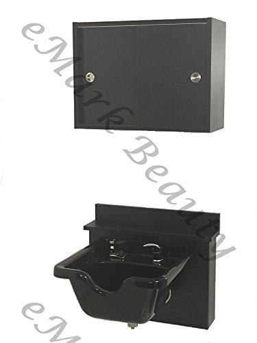Towel Storage Cabinet Square ABS Plastic Shampoo Bowl Sink Black Cabinet TLC-B11-BC16-TC by eMark Beauty