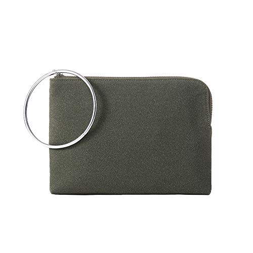 Ring Clutch Purses Faux Suede Clutches Bags Handbag for Women Pouches Casual Leopard Print Linning(Moss Olive)
