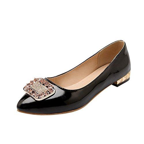 Latasa Kvinna Mode Handgjorda Rhinestone Pekade Tå Platta Skor, Pumpar Skor Svarta