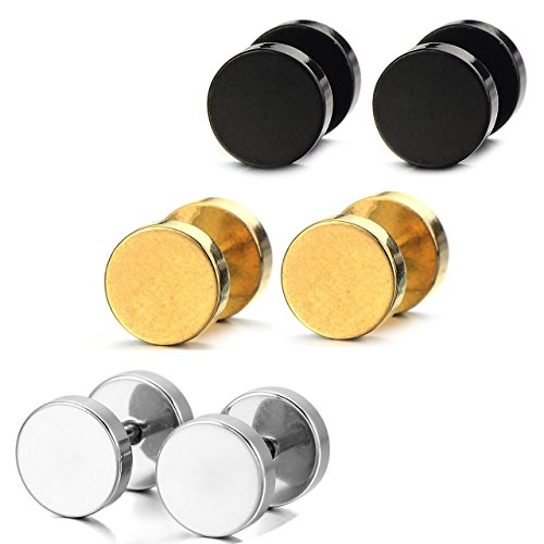 [Areke Mens Stainless Steel Screw Stud Earrings Unisex Womens Ear Plugs Tunnel Jewelry 3 Pairs Color Black Gold] (Little Girl Gypsy Costumes)