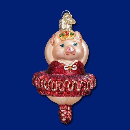 Blown Glass Pig (Old World Christmas Ballerina Pig Glass Blown Ornament)