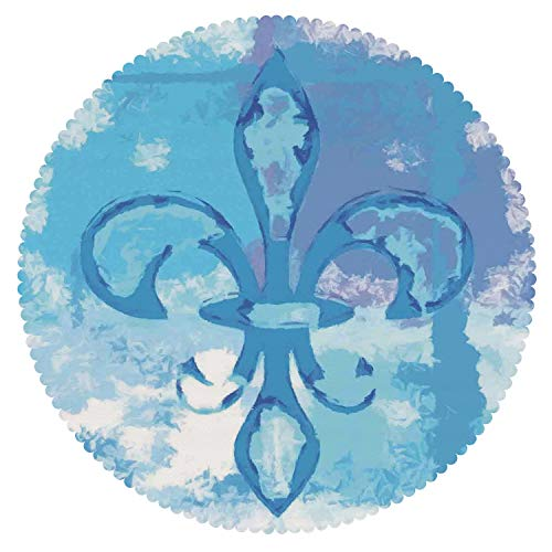 Round Tablecloth [ Fleur De Lis Decor,Illustration of Lily Flower Like Frozen Heredic Nobility Emblem Queenly Style Print,Blue ] Fabric Home Set -