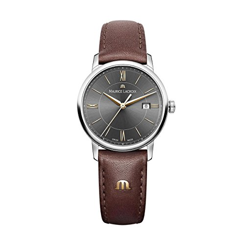 Maurice Lacroix Women's 'Eliros' Quartz Stainless Steel and Leather Casual Watch, Color:Brown (Model: EL1094-SS001-311-1)