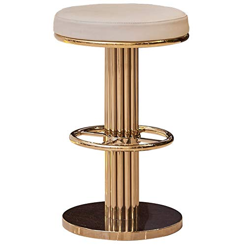 Barstools/Chairs & Stools Bar Stool Simple Postmodern Metal Reception Chair High Stool Leather Art Soft Case Champagne Gold Furniture Light Luxury Barstool ZHAOFENGE (Color : Creamy-White) (Stools Luxury Bar)