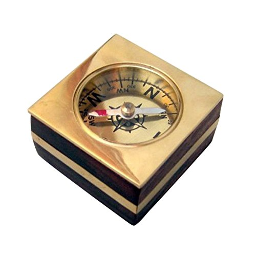 Armor Venue Wooden Desk Compass, Brass Inlay Outdoor Camping Gear by Armor Venue