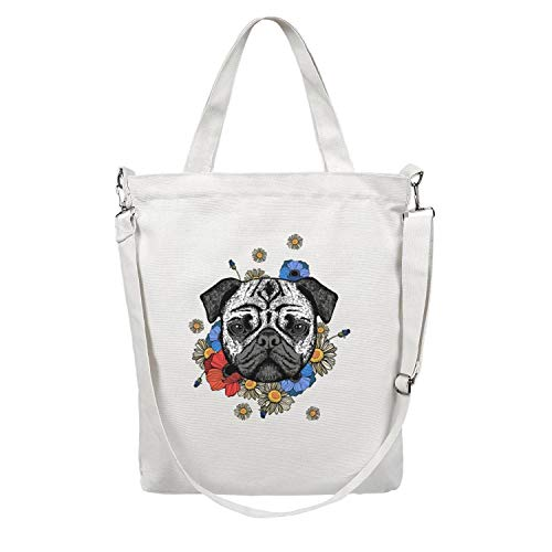 12.5X15 Inches Cute Zip Crossbody Canvas Large Tote Bag For Women blue flower pug Reusable Grocery Beach Work Gym Book Lunch School Shopping Shoulder Handbag