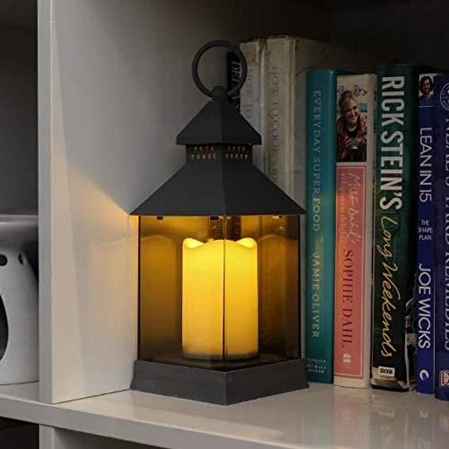 Lanterne avec Bougie LED à Piles - Gris, Noir ou Blanc - Paroi Incassable Effet Verre Teinté - Décoration Intérieure/Extérieure (Waterproof) par Festive Lights (Blanc, Lot de 2 (24cm+31cm))