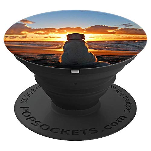 Golden Retriever at Beach Sunset Mobile Gift for Dog Lovers - PopSockets Grip and Stand for Phones and - Retriever Iphone Golden