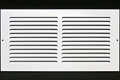 """14""""w X 6""""h Steel Return Air Grilles - Sidewall and Cieling - HVAC DUCT COVER - White [Outer Dimensions: 15.75""""w X 7.75""""h]"""