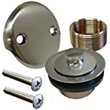 Brushed Nickel Conversion Kit Bathtub Tub Drain Assembly, All Brass Construction