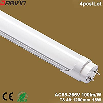 Promotion! LED tube light T8 4ft Led Tube Light 1200mm 18W Double Ends Input With CE ROHs approved (Cold White 6500K, Milky/Frosted Cover)
