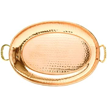 Old Dutch 17¿ x 13¿ Solid Copper Oval Tray w/Cast Brass Handle