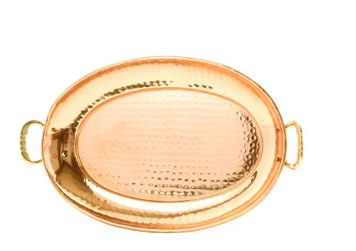 Copper Oval Serving Tray - Old Dutch 17¿ x 13¿ Solid Copper Oval Tray w/Cast Brass Handle