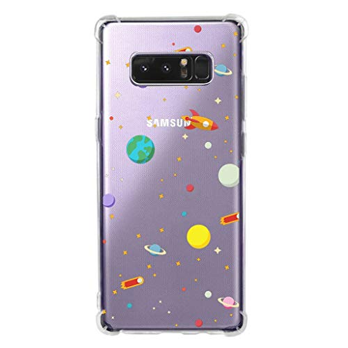 KIOMY Galaxy Note 8 Shockproof Protective Case, Clear with Design Outer Space Universe Pattern Print Heavy Duty Bumper Corners Soft Flexible Cases for Samsung Galaxy Note 8 Covers for Kids Boys Girls