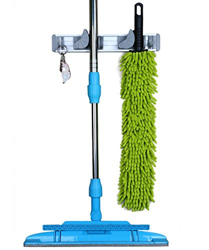 Mop and Broom Holder, MCIRCO Wall Mounted Mop - Kitchen Pantry Closet System