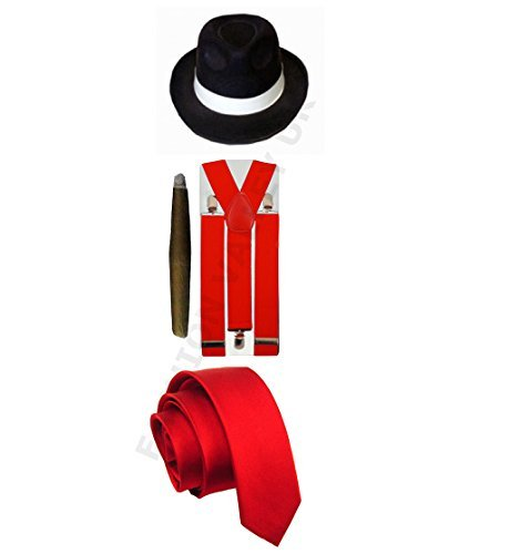 [GANGSTER PIMP HAT BRACES TIE CIGAR 1920'S MAFIA ADULT FANCY DRESS COSTUME (Red Full Costume) by Glossy] (Costumes Braces)