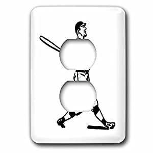 3dRose 1930s and 1940s - Image of Retro Baseball Player Hitting - Light Switch Covers - 2 plug outlet cover (lsp_256258_6)