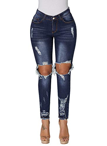 Dokotoo Womens Jeans Casual Summer Classic Distressed Denim Jeans Slim Fit Stretchy High Waist Destroyed Dark Blue Skinny Jeans Pants ()