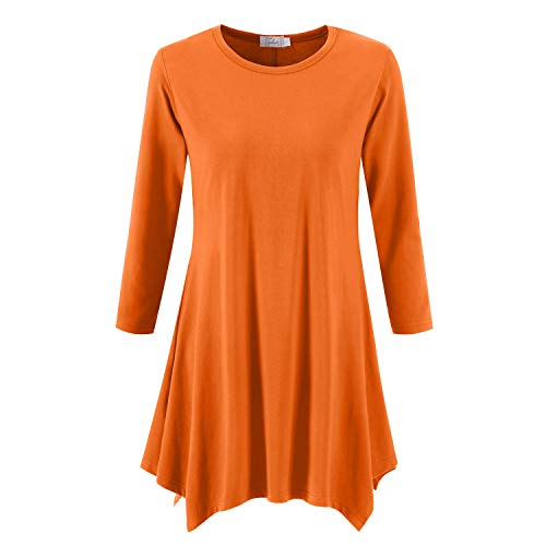 Topdress Women's Swing Tunic Tops 3/4 Sleeve Loose T-Shirt Dress Orange 3X New ()
