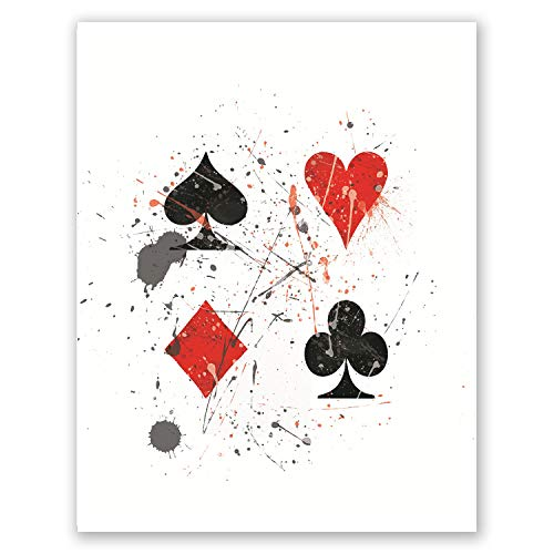 Pgbureau Casino Poster - Casino Party Decorations - Cards Suits Clubs Hearts Spades Diamonds - Watercolor Art Print - Gift for Gamblers (Casino, - Card Suit Diamond
