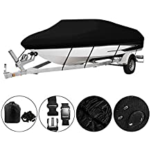 OOFIT Trailerable Boat Cover Waterproof, Breathable All Weather-Proof Boat Cover with Heavy Duty 600D Marine Grade Polyester Canvas, Fits V-Hull, Tri-Hull, Runabout, Fishing Ski Boat Covers