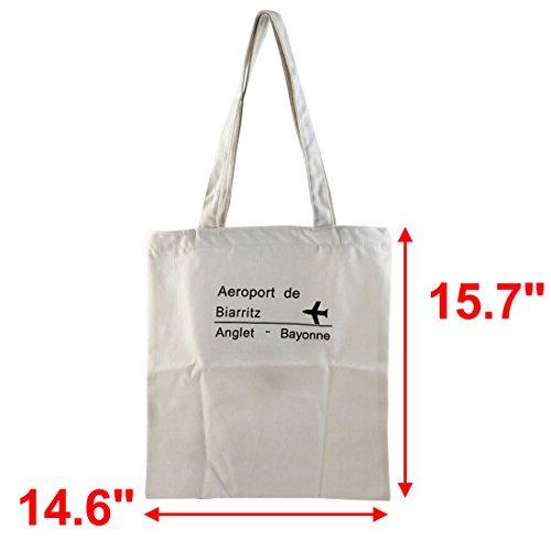 Sourcingmap Bag Laptop Cosmetic Single Books Canvas Tote Shoulder zipper Closure Handbag Airplane Storage Travel Sundries Holder School rxAqBr