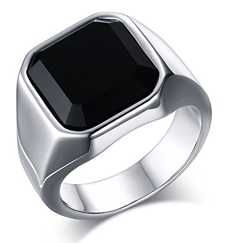 - HUANIAN Jewelry Fashion Stainless Steel Signet Rings with Black Agate for Men,Size 7