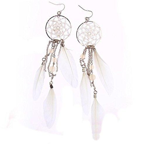 Women Drop Earrings,Caopixx Handmade Long Drop Feather Tassel Earrings Dangle Earrings Jewelry (White, alloy) (Double Feather Earrings)