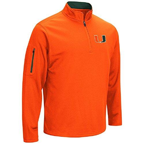 Miami Hurricanes Basketball - Colosseum Men's VF Poly Fleece 1/4 Zip Pullover-Miami Hurricanes-Orange-XXL