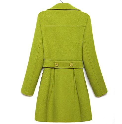 La Sra Delgado Cuello De Piel De Moda Abrigo De Lana Chaqueta De Abrigo Green