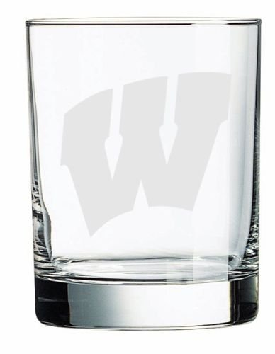 (NCAA - Wisconsin Badgers 14 oz Deep Etched Double Old Fashion Glass)