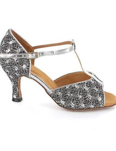pfennig de Buckie Glitter gris Zapatos Sandalias baile baile Zapatos Mujeres shangyi de tacón latin Brillantes FUqwY1pxZ