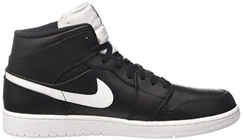 Nike Mænds Air Jordan 1 Midten Basketball Sko Sort / Hvid-hvid aaty3