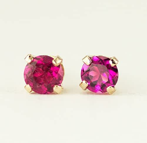 Amazon.com: Pink Tourmaline Gold Studs, October Birthstone Earrings ...