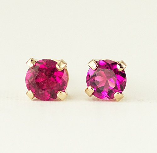 - Pink Tourmaline Gold Studs, October Birthstone Earrings, 14k Yellow or White Gold