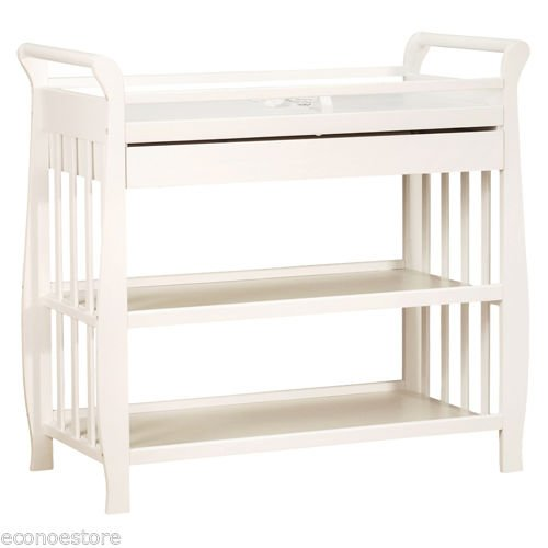 Changing Table Island (Baby Infant Solid Hardwood Changing Table In White With Draw & Pad 3353w)
