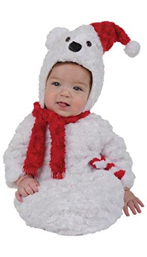 Underwraps Baby Christmas Polar Bear Bunting, White/Red, Infant -