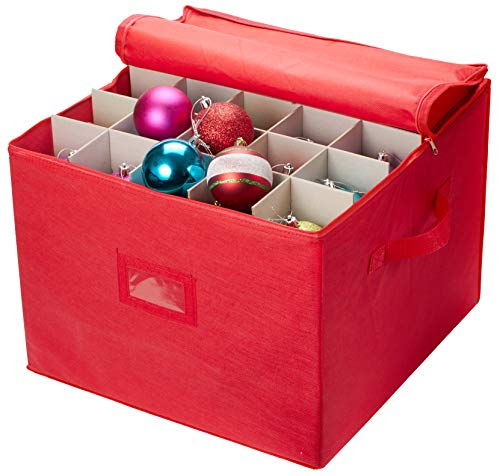 Christmas Ornament Storage - Stores up to 75 Holiday Ornaments, Adjustable Dividers, Zippered Closure with Two Handles. Attractive Storage Box Keeps Holiday Decorations Clean and Dry for Next Season. -