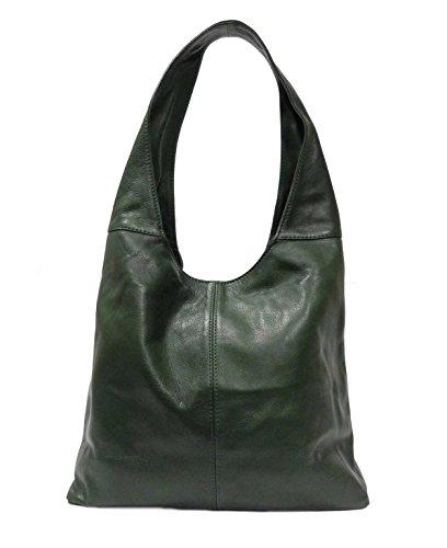SUPERFLYBAGS Borsa Donna Shopper a Spalla In Vera Pelle Morbida Sauvage modello Katy Made In Italy Verde scuro