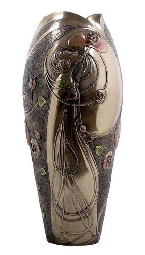 Art Nouveau Geometric Rose and Lady Vase, Bronze Powder Cast 13 3/8-inch