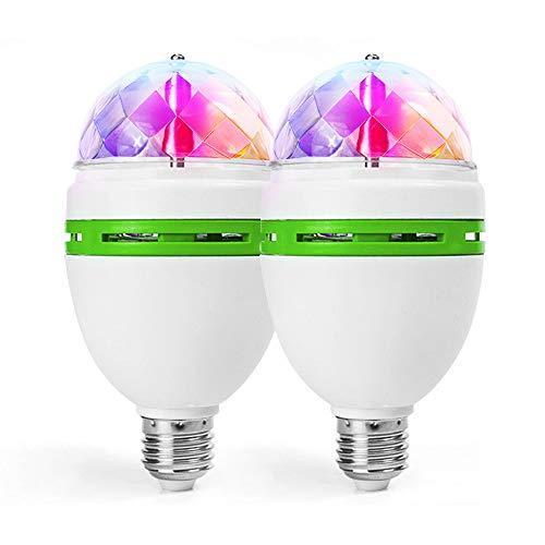 foco LED de luz de discoteca giratoria para casquillo E27/E26, 3 W, luz estroboscópica, multicolor, 2pc